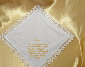 Wedding Handkerchief Mother of the groom Gift for Mother from the Groom Personalized Embroidered wedding Custom Hanky hankie Wedding Gift