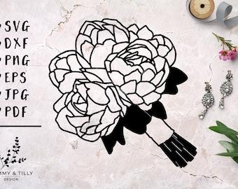 Peonies Wedding Bouquet - Papercut, Machine Cut & Clipart - SVG DXF PNG Eps Pdf Jpg