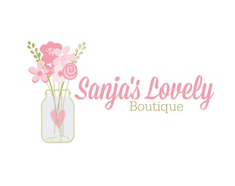 Premade Logo - Boutique Flower Logo - Floral Boutique Etsy Logo - Branding Design - Digital Logo - Watermark - Girly Heart Jar Logo
