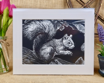 Red Squirrel Giclée Print (Size A5)