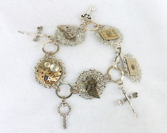 Eco Chic Bracelet of Filigree and Watch Parts  SB037