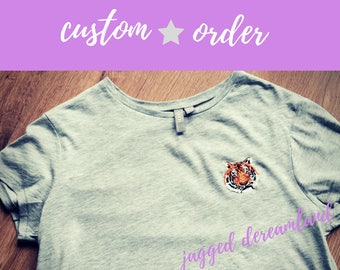 Custom order slot for embroidered animal t-shirt. Hand embroidered tee with unique customised pet or animal portrait chosen by you
