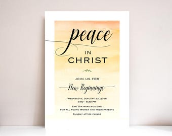 New Beginnings Invitation, New Beginnings Invite, LDS, Young Womens invite, Theme: PRINTABLE (Peace in Christ)