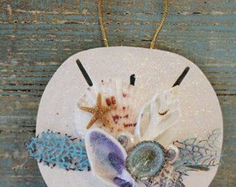 Coastal Christmas Ornament, Hand Made Sand Dollar Ornament,