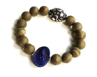 Ultra Violet Bronze Agate Druzy Moon Stars Boho Geometric Bracelet with Sterling Silver, for Her Under 140, Free Gift Wrap