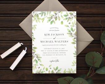 Fresh Greenery Wedding Invitation   Rustic Greenery Wedding Invitations, Rustic Leaves Wedding Invitations, Greenery, Leaves, Modern Design