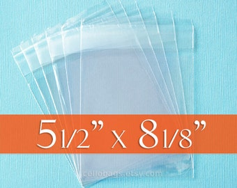 200 5 1/2 x 8 1/8 Resealable Cello Bags for A8 Card, Clear Cellophane Plastic Packaging, Acid Free