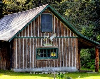 Rustic Cabin Photo, Alaska, Woodland Cabin Decor, Fine Art Photo
