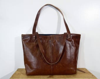 Handmade Upcycled Brown Leather Shoulder Bag, Repurposed Leather Coat Tote Bag / Purse