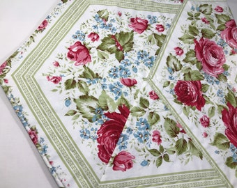 Table Runner, Quilted Runner, Red Roses, 19 x 44, Red, White