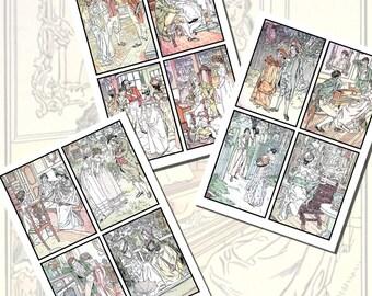 Jane Austen's Pride and Prejudice Printables by C.E. Brock, POSTCARD SIZE,  (3.5 x 5 Inch  or 12.7 x 8.8 cm), 12 Total