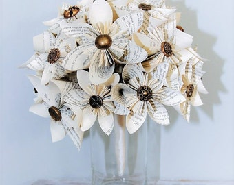 Wedding Bouquet, Wedding Flowers, Book Page Bouquet, Kusudama Bouquet, Button Bouquet, Origami Bouquet, Paper Flowers, Paper bouquet