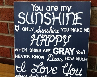 You are my Sunshine SIGN Subway Distressed Navy Blue Handmade Hand-painted Wooden 12x12 WHAGN Made to Order