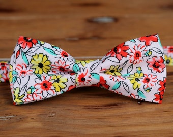 Mens Floral Bow Tie, red yellow pink flowers bow tie, mens bow tie, wedding bow tie, gift for teen, pre tied bow tie, bow ties for men, gift