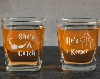 Harry Potter inspired whiskey glasses Set of 2 He's A Keeper ~ She's A Catch