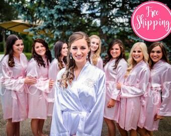 SOLID SATIN ROBE - Blush Satin Robe - Bridesmaids Gifts - Bridesmaid Robes - Wedding Robes - Bridal Party Robe - Satin Dressing Gown