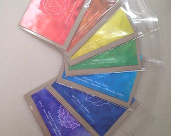 Chakra Greeting Cards | Buy 1 or the series of 7 | Root, Sacral, Navel/ Solar Plexus, Heart, Throat, Third eye, Crown Chakras