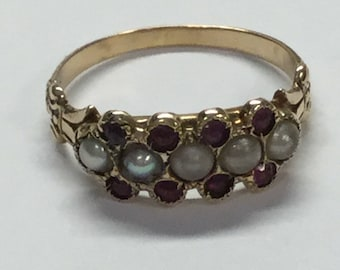 Antique Victorian 10k Yellow Gold Seed Pearl and Amethyst Band Style Ring