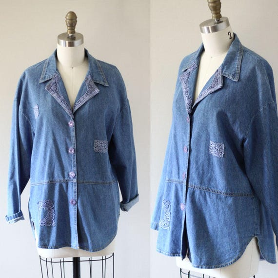 1980s denim lace blouse // 1980s jean shirt // vintage denim shirt