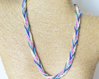 Multicolor necklace, braided necklace, statement necklace, bohemian necklace, beaded necklace, bridesmaid necklace, seed bead necklace