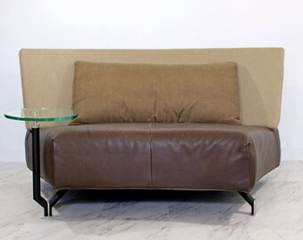 Mid Century Modern Montis Baku Brown Leather Settee Attached Side Table Danish