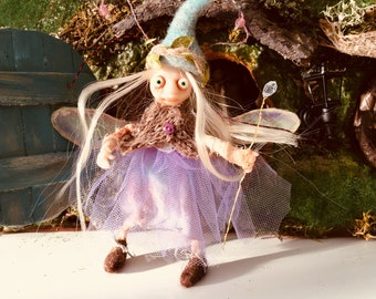Violet Pixie fairy, Ready to Ship, Fantasy Figurine, Poseable tiny fairy doll, Needle felted Soft sculpture, Polymer clay doll