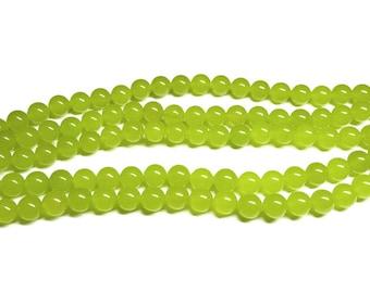 Grape Green Jade Gemstone Beads - Jade Stone Bead Strands - Green Round Jade Beads 6 mm 8 mm