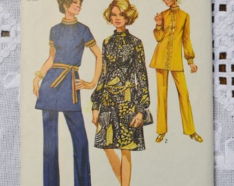 Simplicity 9085 Sewing Pattern Misses Dress Tunic Pants Size 16 Vintage Clothing Fashion Costumes DIY  PanchosPorch