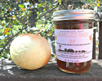 Caramelized Onion Jam - Onion Jam - Savory Jam - Meat Marinade and Baste - Hostess Gift - Charcuterie Board Condiment - Boondock Enterprises