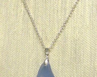 "19"" Silver Plated Chain w/Blue Sea Glass Pendant #20562 sea glass necklace"