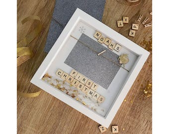 Personalised Baby's First Christmas Box Frame