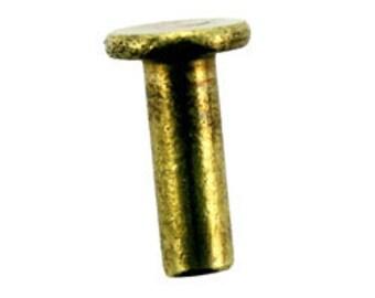 """Brass Flat Head Rivet 1/8"""" x 3/8""""L (Pkg of 25) (CCBR1013)"""
