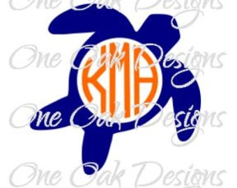 Sea Turtle with Circle for Monogram SVG, DXF, PDF, jpg, ,png, eps, ai for Cameo, Cricut & other electronic cutting machines