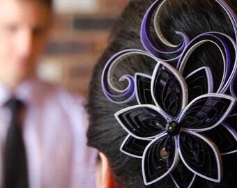 Wedding Hair Ornaments, Purple Wedding Hair Clip, Black Wedding Fascinator