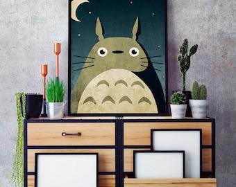 My neighbor Totoro poster, Totoro minimalist poster, Totoro  print, anime poster, Ghibli poster, Totoro kids room decor, minimalist anime
