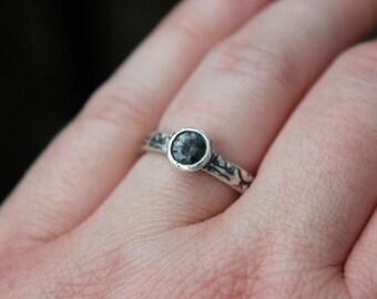 SALE blue spinel engagement ring . gemstone engagement ring . engraved tudor rose ring . alternative engagement ring ready to ship size 6.5