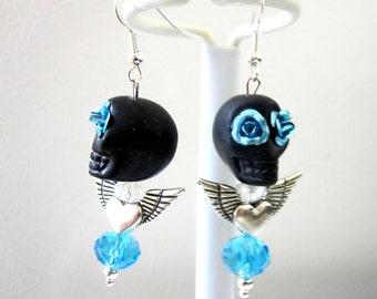 Black Blue Sugar Skull Earrings Day Of The Dead Jewelry