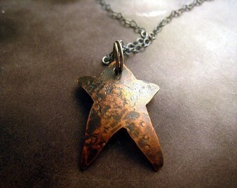 Rustic Star Necklace hammered copper pendant