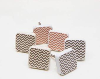 Set of 6 Seventies Style Ceramic Knobs