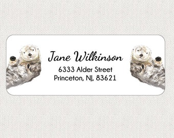 Sea Otters Return Address Labels - Stickers - Personalized - Kids Labels - Baby Shower - Animal - Whimsical