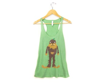 SAMPLE SALE Bigfoot the Squatch Tank - Racerback Scoop Neck Long Swing Tank Top in Heather Forest Green & Brown Fur - Women's Size L