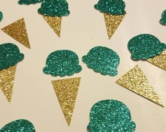 Ice Cream cone Table decor Glitter Confetti Birthday party or baby shower decor You choose colors! Ice Cream shoppe