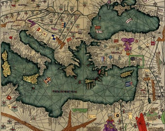 Cresques Catalan Atlas; World Map; 1387; Antique Map; Plate 3 of 3