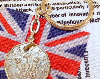 1939 3d 12 Sided Threepence English Coin Keyring Key Chain Fob King George VI