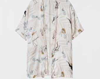 SALE. Dance Girls Silk Dress Kimono. Japanese Inspirer Women's Printed Kimono. Holiday, Cocktail Bridesmaid Robe. Fall Fashion. Olivia FW17