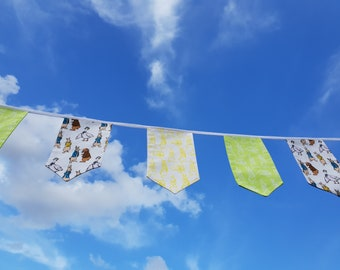 Fabric Bunting - 3 m/10 ft  with 15 double sided flags - Lime Green Yellow Peter Rabbit Cotton Celebration Nursery Decor Baby Shower