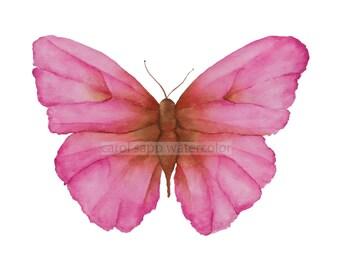 pink butterfly art-pink butterfly watercolor-pink butterfly painting-archival print-butterfly original art-rose pink decor-nursey art