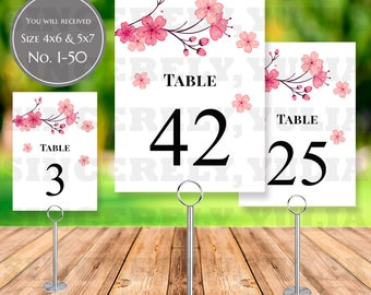 Cherry Blossom Sakura Table Number Printable || Japan Oriental Wedding || Number 1-50 || Size 4x6 and 5x7 || Digital Files || PDF || SY042