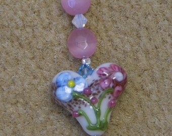 Scissor Fob - Floral lampworked bead and Swarovski crystals