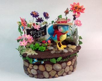 Bluebird ~ Inchworm ~ Sculpture and Keepsake Box ~ Customizable & Handmade to Order ~ SOLD